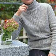 旧时光 阿兰花样前短后长女士棒针高领套头毛衣