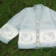 囝囝毛衣之KT猫棒针提花小开衫