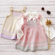向暖背带裙 儿童棒针提花吊带裙编织视频