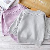 不染橫織毛衣(2-1)從袖口開始織的親子棒針套頭毛衣編織視頻