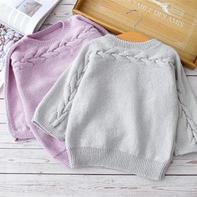 不染横织毛衣(2-1)从袖口开始织的亲子棒针套头毛衣编织视频
