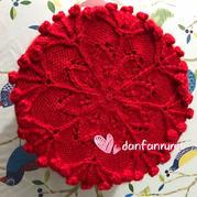 圣诞玫瑰 从中心织起的女士棒针镂空花棒针帽子