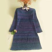 清晖 段染马海从上往下四段法编织长袖连衣裙