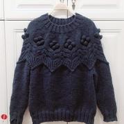 年織件珠珠衣 粗線織棒針豆豆針圓肩套頭毛衣