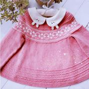 小粉樱  从上往下织花线意棉宝宝棒针提花小裙子