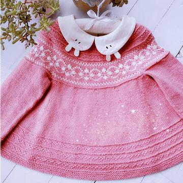 小粉櫻  從上往下織花線意棉寶寶棒針提花小裙子