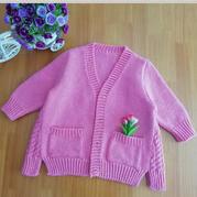 韩系女童粗针织棒针开衫外套
