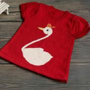 天鹅(2-1)儿童棒针卡通图案外搭套头毛衣编织视频