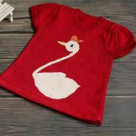 天鵝(2-2)兒童棒針卡通圖案外搭套頭毛衣編織視頻