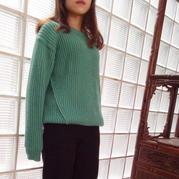 倾城时光 孔雀绿开米羊绒女士棒针双元宝oversize廓形毛衣