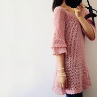 秋海棠  杂志款改版甜美淑女风钩针七分袖裙式毛衣
