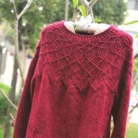 红酥手 从下往上织女士棒针圆肩毛衣