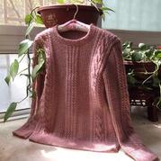 胭粉 淘宝款改版女式棒针麻花套头衫