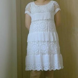 超级显瘦仙范儿女士钩针蕾丝拼花小白裙