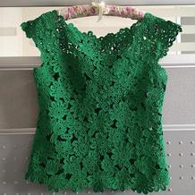 绿漾 先织后缝女士钩针经典山菊花套衫