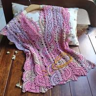 妍色 粉嫩嫩的女士钩针段染花边小罩衫