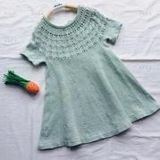 粉櫻 從上往下無需縫合兒童棒針半袖連衣裙