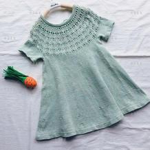 粉樱 从上往下无需缝合儿童棒针半袖连衣裙