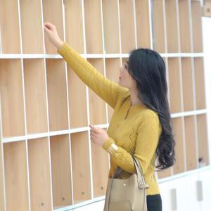 姜黃色女士棒針馬海鏤空開衫