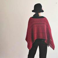 半方紅 非常有設計感的女士鉤針方形羊仔毛披肩