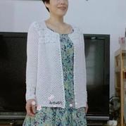 小芳 拼花搭配水草花编织女士钩针长袖开衫