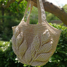 棉草编织立体叶子花钩针包包
