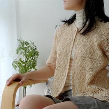玫瑰园 气质款复古绣花女士钩针方格短袖开衫
