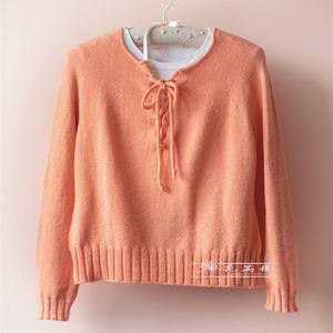 春橙 毛丝绒女士棒针系带套头毛衣