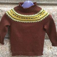 儿童棒针咖啡提花套头毛衣