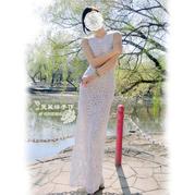雪羽  女士钩针六边形拼花礼服长裙