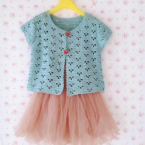 夏季女童外搭钩针三叶草小开衫