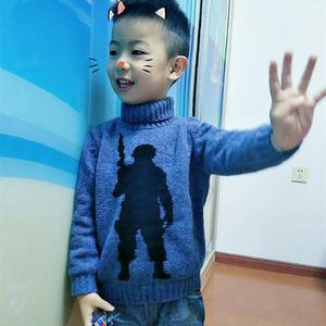 投其所好,为儿子织的棒针士兵图案套头毛衣