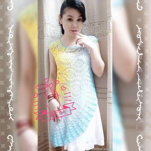经典菠萝衣改版女士钩针不对称渐变连衣裙