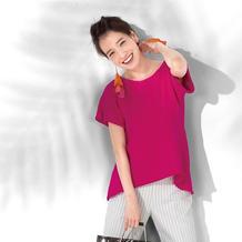前短后长女士棒针圆摆A字版型短袖衫