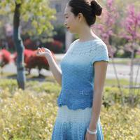 魔法球纯棉女士钩针渐变长段染短袖短裙套装