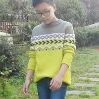 冬和 男童棒針拼色毛衣詳細過程跟真人秀