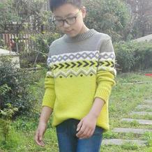 冬和 男童棒针拼色毛衣详细过程跟真人秀
