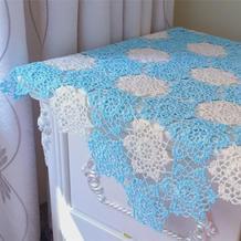 清新蓝白蕾丝拼花钩针小桌布