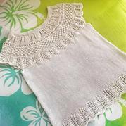 白色絲麻女士棒針蕾絲云肩套衫