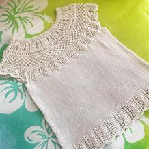 白色丝麻女士棒针蕾丝云肩套衫