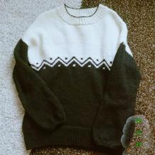 黑与白 手工编织极简提花撞色圆领毛衣
