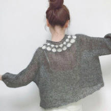 Project info小樱桃 从领口往下织微提花女士套头毛衣