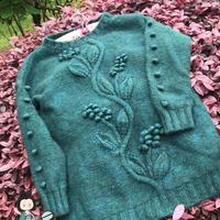 蔓绿绒 浮雕效果的叶子花女士棒针套头毛衣
