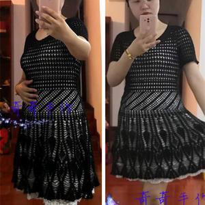 V领收腰圆摆女士钩针原创黑菠萝连衣裙