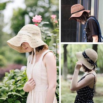 3款时尚夏日钩针棉草遮阳帽