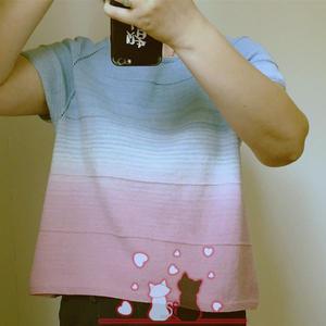 初夏 魔法球女士棒針育克插肩短袖休閑衫