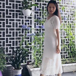 如贝 原创白色钩针蕾丝长裙