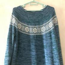 银笛270机织女士育克圆肩长袖提花毛衣