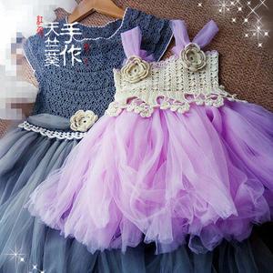 公主裙 素色钩纱结合大小女童公主裙