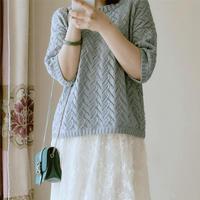 轻尘 春夏女士棒针扁带棉镂空套衫